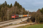 BR 152/531399/152-151-7-mit-einem-containerzug-aus 152 151-7 mit einem Containerzug aus Freilassing kommend am 30. November 2016 bei Grabenstätt.
