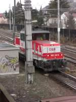 br-1163/179835/1163-007-6-bei-einer-rangierfahrt-in 1163 007-6 bei einer Rangierfahrt in Salzburg-Parsch. Aufgenommen am 28. Dezember 2010 aus dem Fenster des Stellwerks von Parsch.